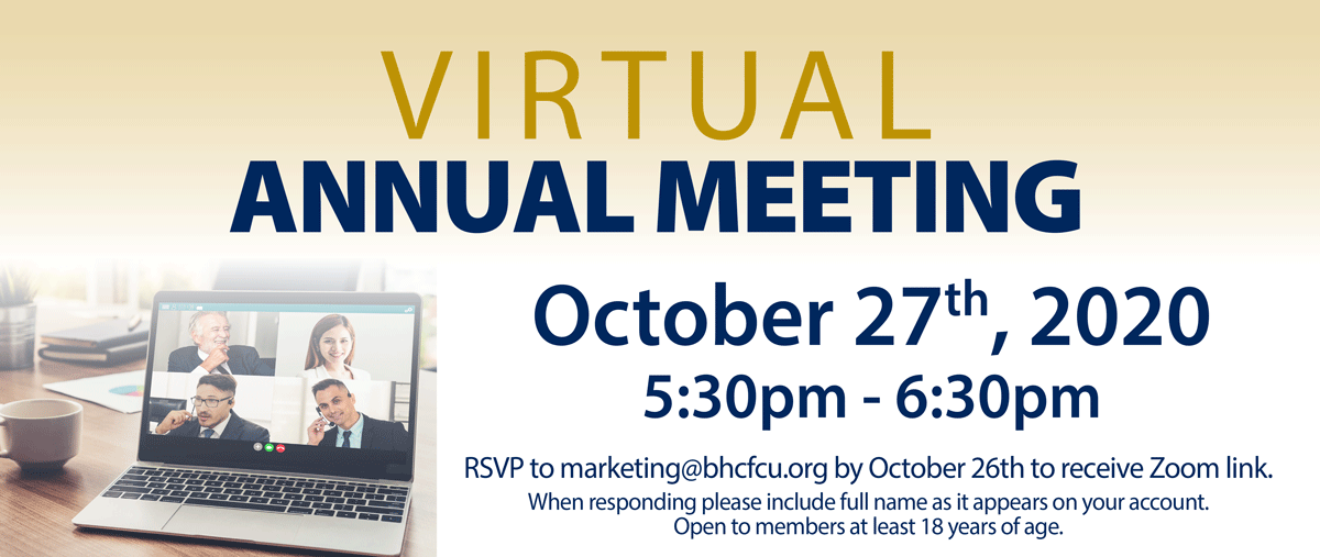 Virtual Annual Meeting October 27th. RSVP by October 26th to receive zoom link