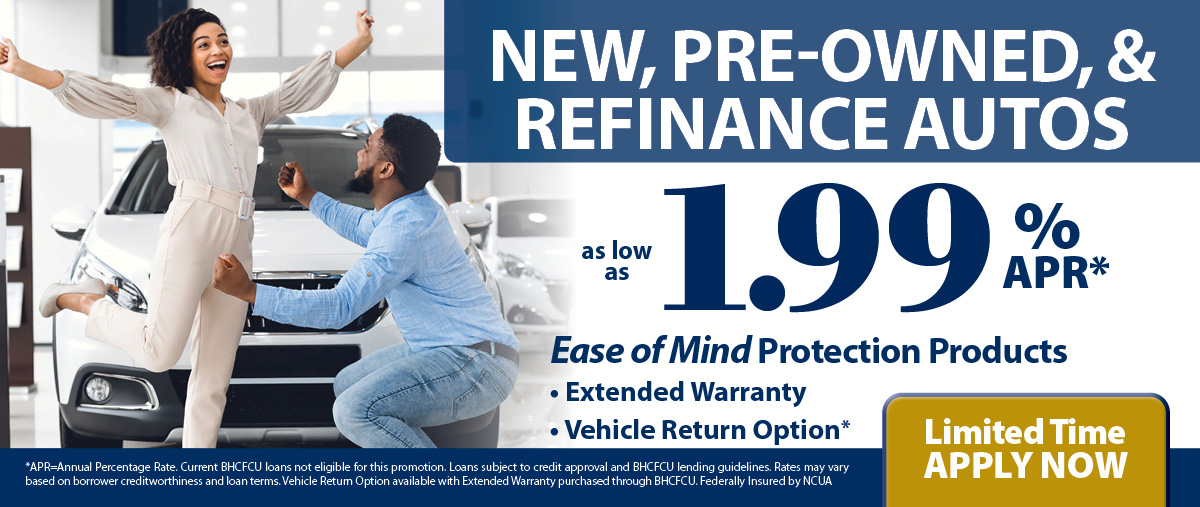 New, Pre-owned, & Refinance Autos, as low as 1.99%