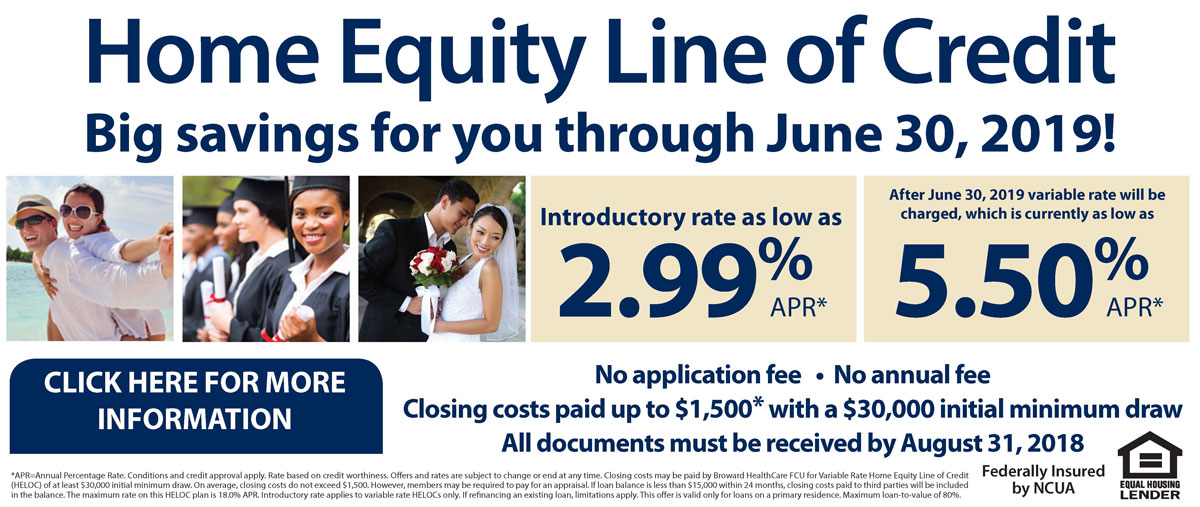 Home equity line of credit. Big savings for you through June 2019.
