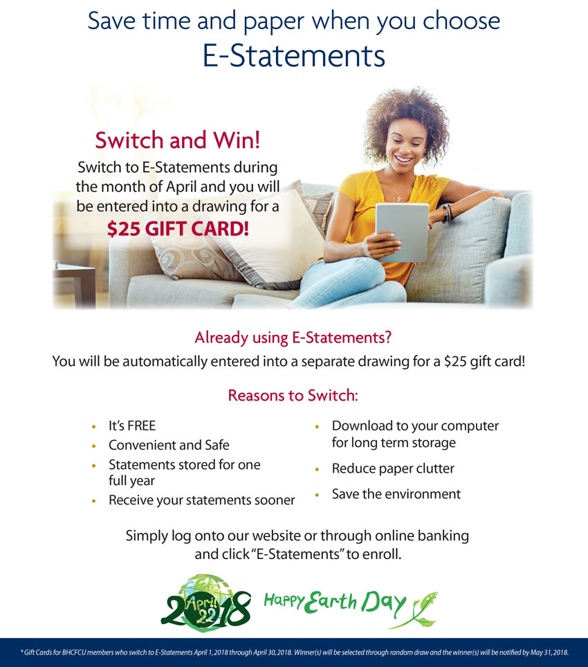 Save time and paper when you choose E-Statements